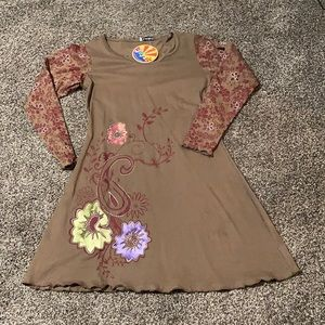 NWT Floral Embroidered A-line Dress